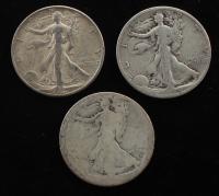 Lot of (3) Walking Liberty Silver Half Dollars at PristineAuction.com