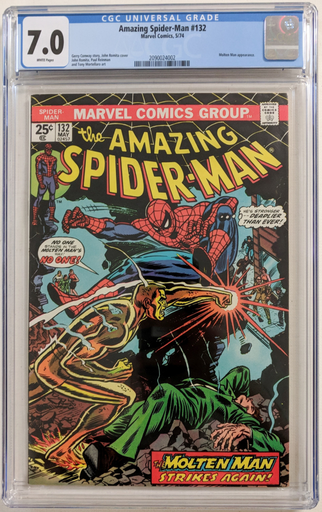 """1974 """"The Amazing Spider-Man"""" Issue #132 Marvel Comic Book (CGC 7.0) at PristineAuction.com"""