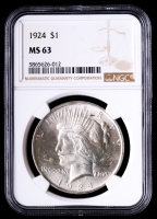 1924 Peace Silver Dollar (NGC MS63) at PristineAuction.com