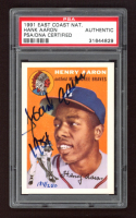 """Hank Aaron Signed LE 1991 Topps East Coast National #1 Inscribed """"1954"""" (PSA Encapsulated) at PristineAuction.com"""