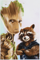 Tony Santiago - Rocket Raccoon & Baby Groot - Guardians of the Galaxy - Marvel Comics 13x19 Signed Lithograph (PA COA) at PristineAuction.com