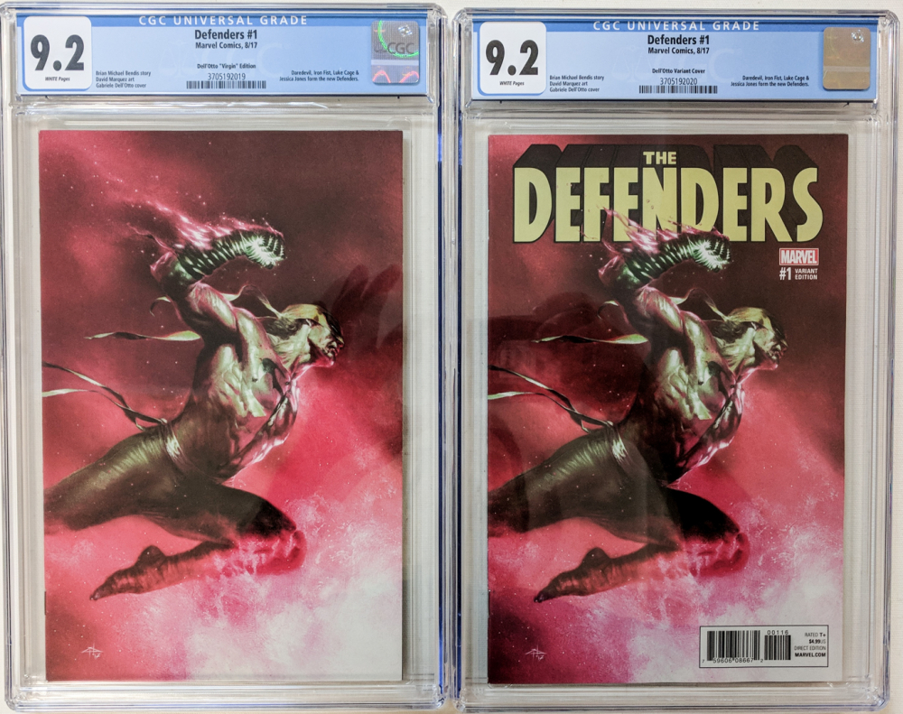 """Lot of (2) 2017 """"Defenders"""" Issue #1 Marvel Comic Books with TCM Exclusive Gabriele Dell'Otto Variant (CGC 9.2) & Dell'Otto Virgin Variant (CGC 9.2) at PristineAuction.com"""