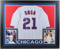 Sammy Sosa Signed 35x43 Custom Framed Jersey (Beckett COA) at PristineAuction.com