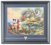 "Thomas Kinkade ""Mickey and Minnie Sweetheart Cove"" 14x16 Custom Framed Print Display with Mickey and Minnie Pin at PristineAuction.com"