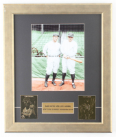 Babe Ruth & Lou Gehrig Yankees 15.5x18.5 Custom Framed Photo Display with (2) 23 KT Gold Cards at PristineAuction.com