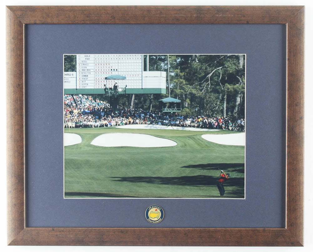 "Tiger Woods ""Masters"" 12.5x15.5 Custom Framed Display with Original Masters Pin at PristineAuction.com"