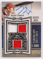 Mike Trout 2020 Topps Sterling Sterling Swings Relic Autographs Blue #SWARMT /10 at PristineAuction.com