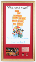 "Disneyland Fantasyland's ""It's A Small World"" 14.5x25.5 Custom Framed Print with Vintage Postcard, Ticket & Disnyeland Pin Set at PristineAuction.com"
