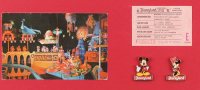 "Disneyland Fantasyland's ""It's A Small World"" 14.5x25.5 Custom Framed Print with Vintage Postcard, E-Ride Ticket & Disnyeland Pin Set at PristineAuction.com"