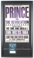 """Prince and The Revolution """"Purple Rain Tour"""" Poster 14.5x25.5 Custom Framed Print Display with Original 1984-85 Backstage Pass & Prince Pin at PristineAuction.com"""