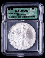 2001 American Silver Eagle $1 One Dollar Coin (ICG MS69) at PristineAuction.com