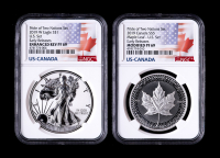 2019 Pride of Two Nations Set (2) With $1 American Silver Eagle (NGC Enhanced Rev Proof 69) & $5 Canadian Siler Maple Leaf (NGC Modified Proof 69) at PristineAuction.com