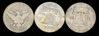 Lot of (3) Coins with 1951-S Franklin Half Dollar, 1961-D Franklin Half Dollar & 1906 Barber Half Dollar at PristineAuction.com