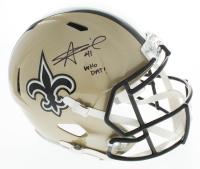 "Alvin Kamara Signed Saints Full-Size Speed Helmet Inscribed ""Who Dat!"" (Beckett COA) at PristineAuction.com"