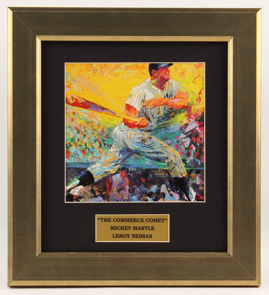 "LeRoy Neiman ""Mickey Mantle"" 12x14 Custom Framed Print Display at PristineAuction.com"