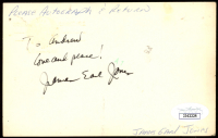 """James Earl Jones Signed 3.5x5.5 Post Card Inscribed """"Love and Peace!"""" (JSA COA) at PristineAuction.com"""