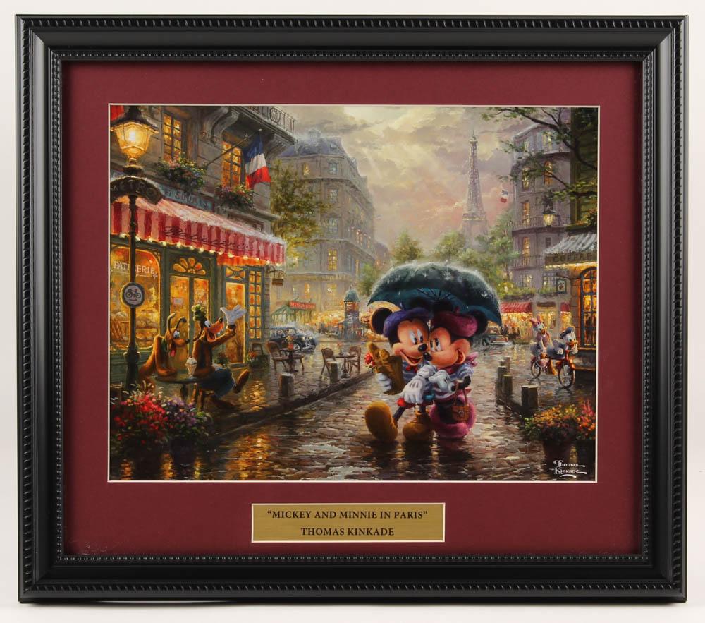 "Thomas Kinkade Walt Disney's ""Mickey & Minnie Mouse in Paris"" 14x16 Custom Framed Print Display at PristineAuction.com"