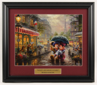 "Thomas Kinkade Walt Disney's ""Mickey & Minnie Mouse in Paris"" 14x16 Custom Framed Print Display at PristineAuction.com"