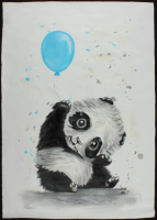 "Rodney Weng ""Panda Party"" 25.5x36.5 Original Oil Panting on Linen (PA LOA) at PristineAuction.com"