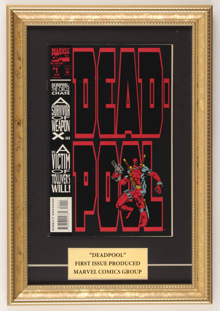 """Vintage 1993 """"Deadpool"""" Issue #1 Marvel 11.5x16.5 Custom Framed First Issue Comic Book Display at PristineAuction.com"""