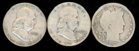 Lot of (3) Coins with 1953-D Franklin Half Dollar, 1950 Franklin Half Dollar & 1907-S Barber Half Dollar at PristineAuction.com