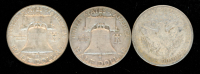 Lot of (3) Half Dollar Coins with 1954-D Franklin Half Dollar, 1958-D Franklin Half Dollar & 1915-S Barber Half Dollar at PristineAuction.com