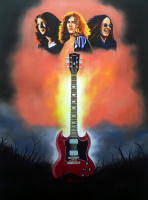 "Hector Monroy ""Voices of Heavy (Gillan, Plant, & Ozzy)"" 24x32 Original Oil Painting on Canvas (PA LOA) at PristineAuction.com"