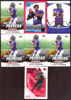 Lot of (7) Lamar Jackson Football Cards with 2019 Limited Limited Threads Silver Spotlight #10, 2018 Donruss Press Proof Red #317 RR, (4) 2018 Rookies and Stars Precision Passers #19,  2018 Panini Contenders Draft Picks Game Day Tickets #4 at PristineAuction.com