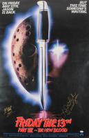"Kane Hodder & Lar Park Lincoln Signed ""Friday the 13th"" 27x40 Photo Inscribed ""JASON"" & ""I Survived Jason"" (JSA COA) at PristineAuction.com"