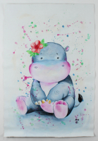 "Rodney Weng  - ""PINK HIPPO"" 25x37 Original Oil Panting on Linen (PA LOA) at PristineAuction.com"