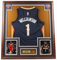 Zion Williamson 32.5x36.5 Custom Framed Jersey Display with Pelicans Pin at PristineAuction.com