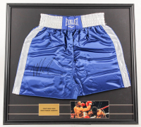 Mike Tyson Signed 29x31 Custom Framed Boxing Trunks Display (PSA COA) at PristineAuction.com