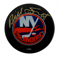 Billy Smith Signed Islanders Logo Hockey Puck (PSA COA) at PristineAuction.com