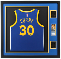 Stephen Curry Signed Warriors 34.5x36.5 Custom Framed Jersey Display (Steiner COA) at PristineAuction.com