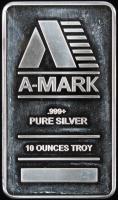 """10 Troy Ounces .999 Fine Silver """"A-Mark"""" Bullion Bar at PristineAuction.com"""