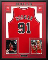 Dennis Rodman Signed 34.5x42.5 Custom Framed Jersey (JSA COA) at PristineAuction.com