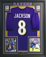 Lamar Jackson Signed 34.5x42.5 Custom Framed Jersey (JSA COA) at PristineAuction.com