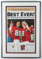 Jerry Rice & Steve Young Signed 1995 ContraCostaTimes 19x27 Custom Framed Magazine Display (JSA ALOA) at PristineAuction.com