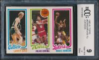1980-81 Topps #34 Larry Bird RC, #174 Julius Erving TL, #139 Magic Johnson RC (BCCG 9) at PristineAuction.com
