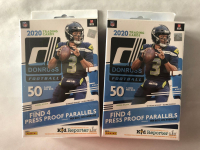 Lot of (2) 2020 Donruss Football Hanger Boxes with (50) Cards Each at PristineAuction.com