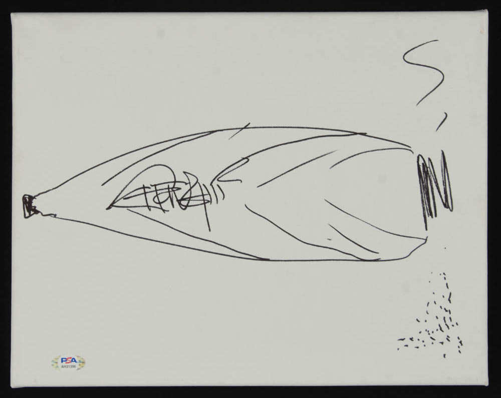 Tommy Chong Signed 11x14 Hand-Drawn Canvas Sketch (PSA Hologram) at PristineAuction.com