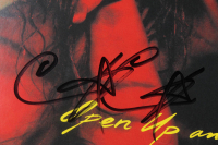"""Poison """"Open Up and Say... Ahh!"""" Vinyl Record Album Cover Band-Signed by (4) with Bret Michaels, Rikki Rockett, C.C. DeVille & Bobby Dall (JSA ALOA) at PristineAuction.com"""