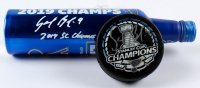 "Lot of (2) Sammy Blais Signed 2019 Blues Stanley Cup Championship Hockey Items with Blues Logo Hockey Puck & Bud Light Bottle Inscribed ""2019 SC Champs"" (Blais COA & Beckett COA) at PristineAuction.com"