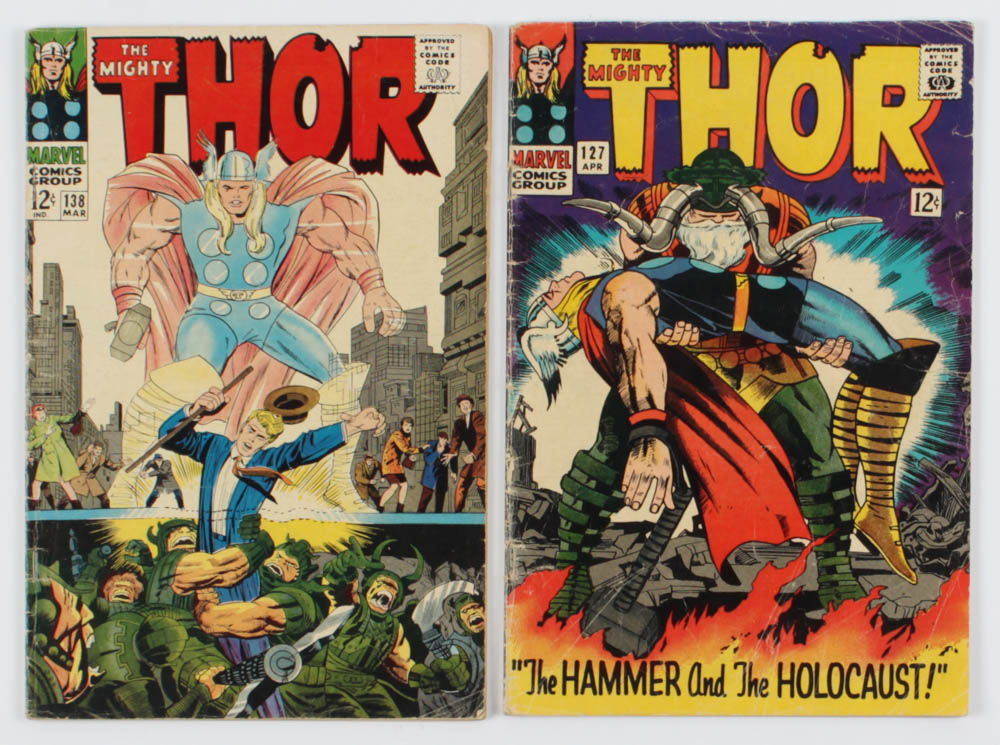 """Lot of (2) """"The Mighty Thor"""" Comic Books with 1966 #127 & 1967 #138 at PristineAuction.com"""