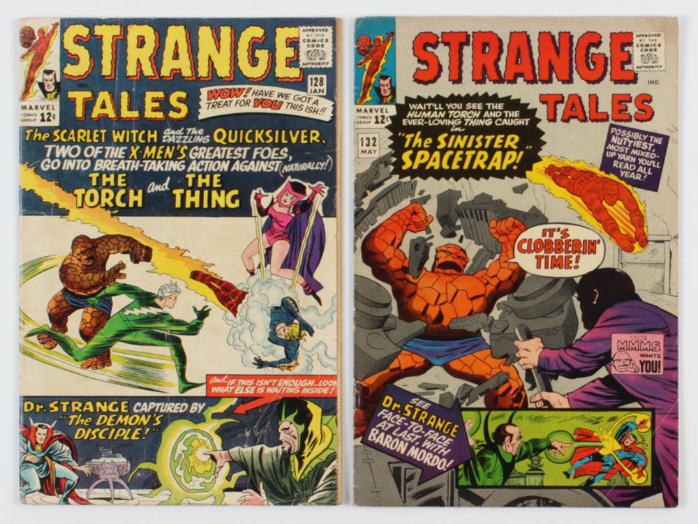 """Lot of (2) 1965 """"Strange Tales"""" Comic Books with #132 & #128 at PristineAuction.com"""