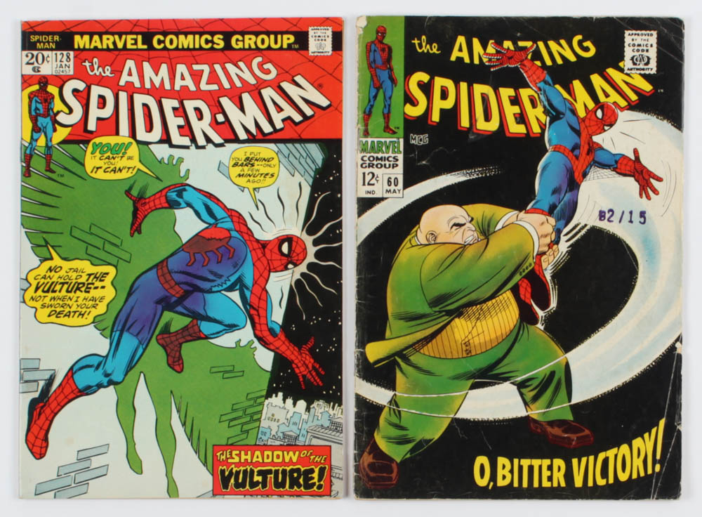 """Lot of (2) """"The Amazing Spider-Man"""" Comic Books with 1968 #60 & 1974 #128 at PristineAuction.com"""