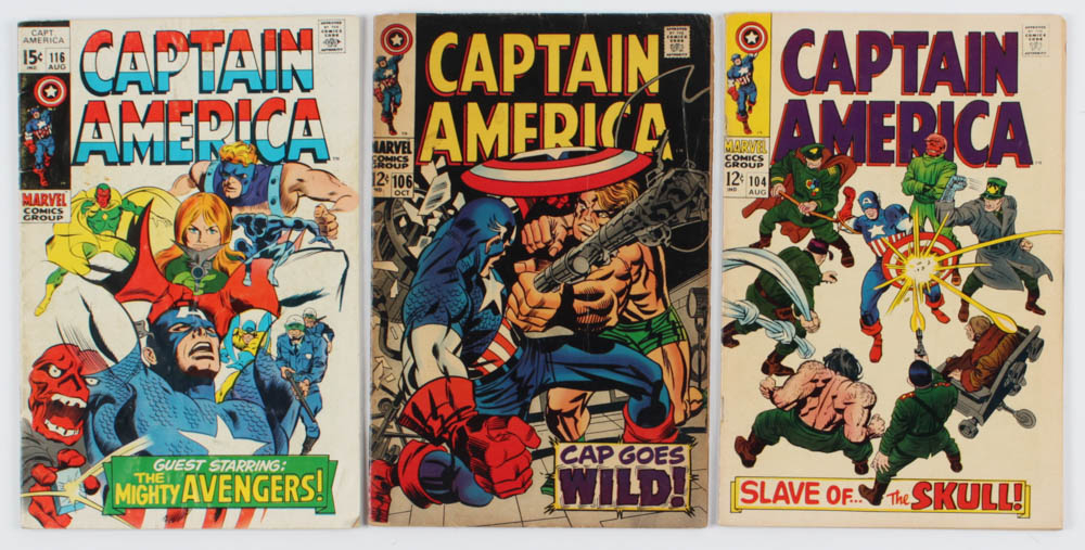 """Lot of (3) """"Captain America"""" Comic Books with 1968 #104, 1968 #106 & 1969 #116 at PristineAuction.com"""