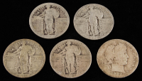 Lot of (5) 25¢ Silver Quarters with (1) 1902 Barber & (4) 1917-1924 Standing Liberty at PristineAuction.com