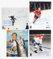 """Lot of (4) Bobby Hull Signed 8x10 Photos Inscribed """"The Golden Jet"""", """"HOF 1983"""" & """"2nd 50th 03/02/66"""" (Hull Hologram) at PristineAuction.com"""