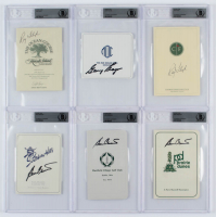 Lot of (6) BGS Encapselated Signed Golf Club Course Information & Scorecards with (2) Ray Floyd, Gary Player, & (2) Ben Crenshaw at PristineAuction.com